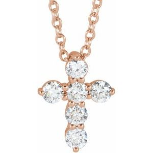 "14K Rose 10.2x7.9 mm 1/4 CTW Diamond Cross 16-18"" Necklace"