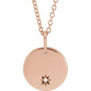 """14K Rose .005 CT Diamond Round 16-18"""" Necklace"""
