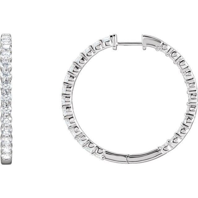 14K White 3 CTW Lab-Grown Diamond Inside-Outside Hinged 25 mm Hoop Earrings