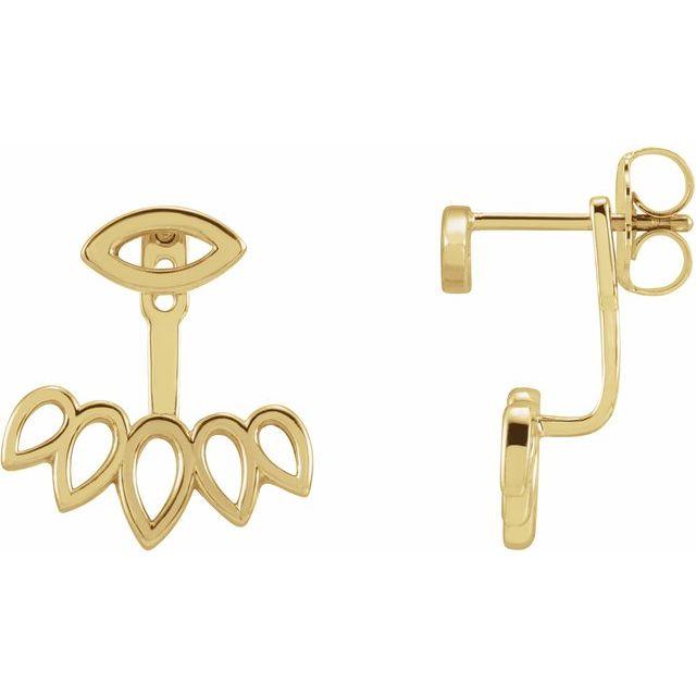 14K Yellow Geometric Ear Jacket Stud Earrings