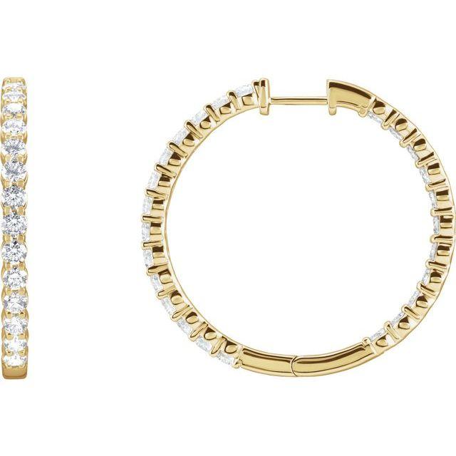 14K Yellow 3 CTW Lab-Grown Diamond Inside-Outside Hinged 25 mm Hoop Earrings
