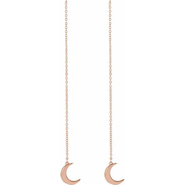 14K Rose Crescent Chain Earrings