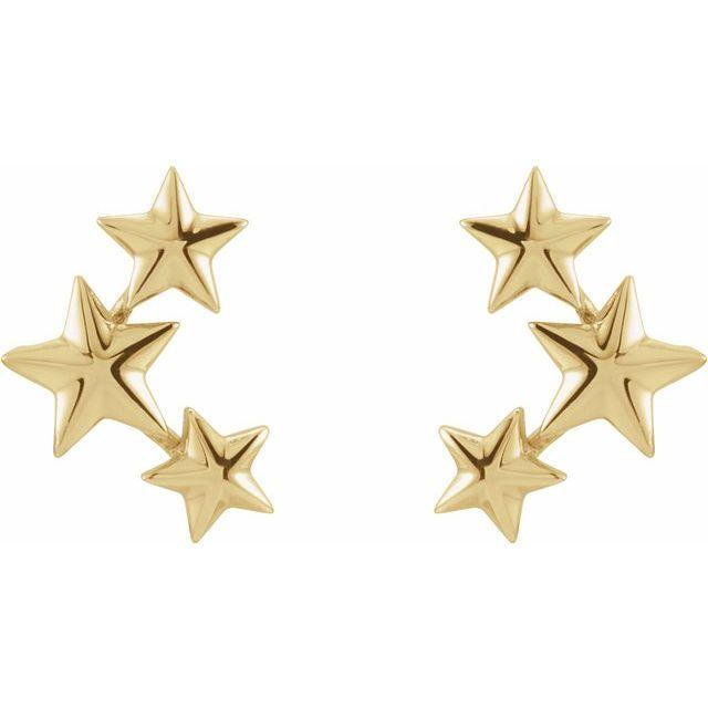 14K Yellow 11.4x4.3 mm Star Ear Climbers
