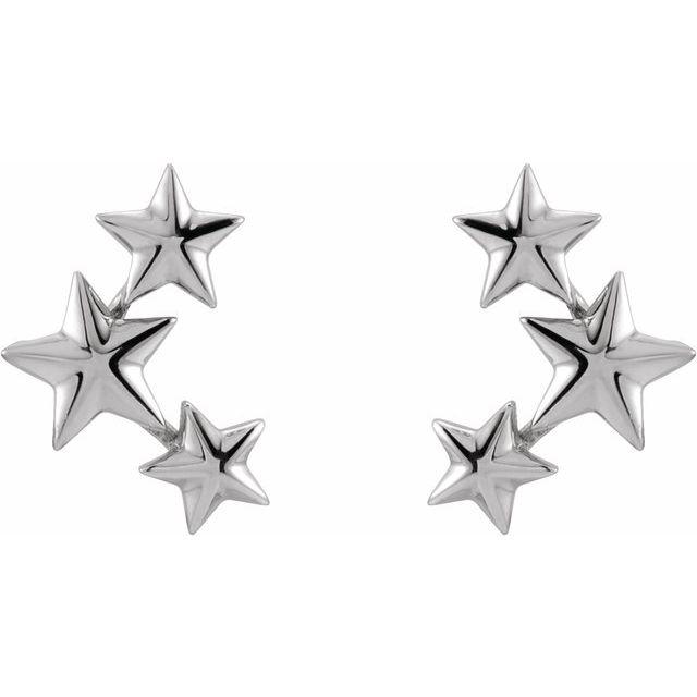 14K White 11.4x4.3 mm Star Ear Climbers