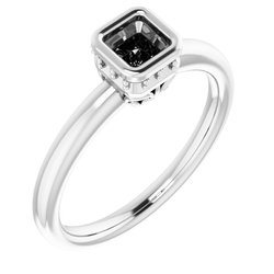 Bezel-Set Solitaire Engagement Ring with Accent