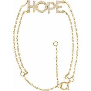 "14K Yellow 1/4 CTW Diamond Hope 5-7"" Bracelet"