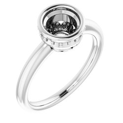 Bezel Set Solitaire Engagement Ring with Accent