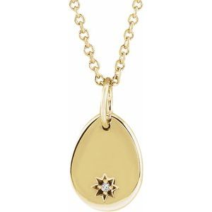 "14K Yellow .005 CT Diamond Pear Starburst 16-18"" Necklace"