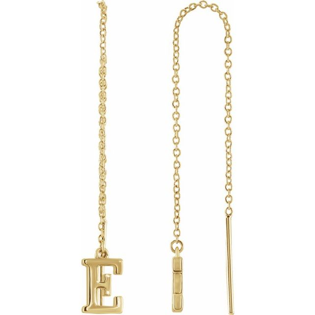 14K Yellow Single Initial E Chain Earring