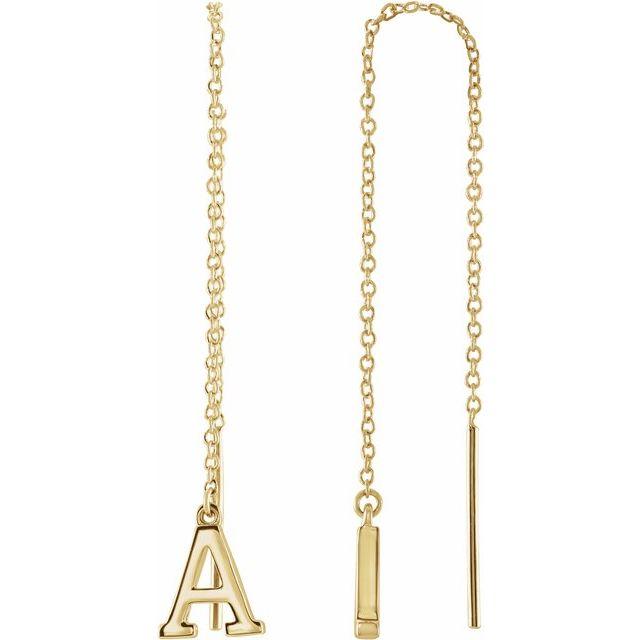 14K Yellow Single Initial A Chain Earring