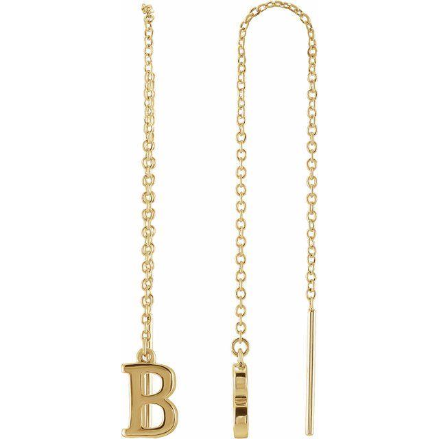 14K Yellow Single Initial B Chain Earring