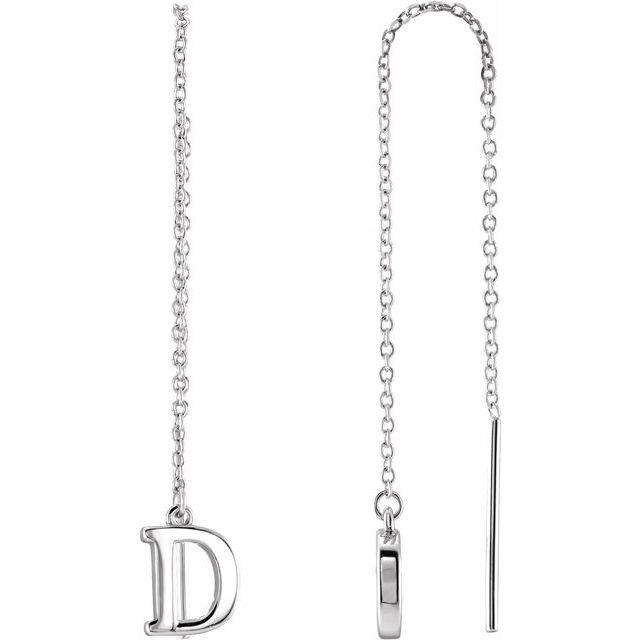 14K White Single Initial D Chain Earring