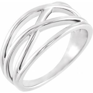 Sterling Silver 10.2 mm Criss-Cross Ring