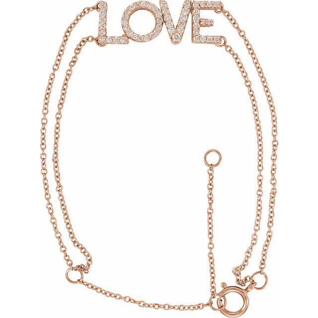 """14K Rose 1/4 Diamond Love 5-7"""" Bracelet"""