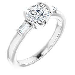 Half Bezel Baguette Accented Engagement Ring