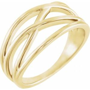 14K Yellow 10.2 mm Criss-Cross Ring