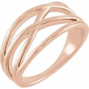 14K Rose 10.2 mm Criss-Cross Ring