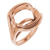 18K Rose  14 mm Cushion Ring Mounting