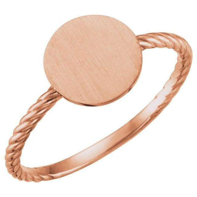 14K Rose Round Engravable Rope Ring