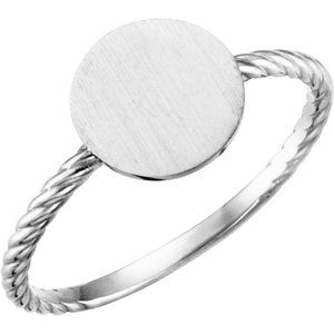 Continuum Sterling Silver Round Engravable Rope Ring