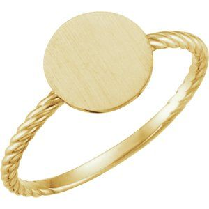 14K Yellow Round Engravable Rope Ring