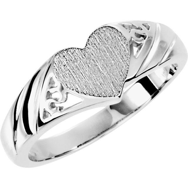 14K White 9x8 mm Heart Signet Ring
