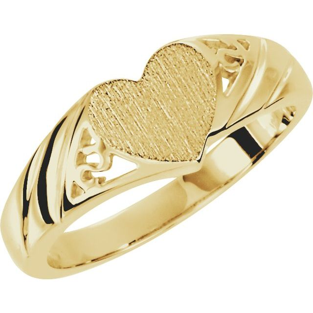 14K Yellow 9x8 mm Heart Signet Ring