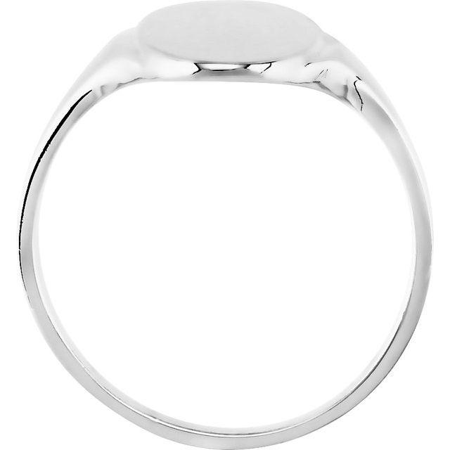 10K White 16.4x8.5 mm Oval Signet Ring