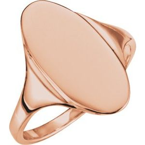 14K Rose 16.4x8.5 mm Oval Signet Ring
