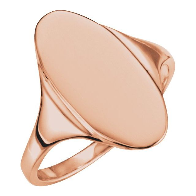 14K Rose 16.4x8.5 mm Oval Signet Ring