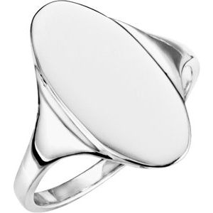 10K White 16.4x8.5 mm Oval Signet Ring