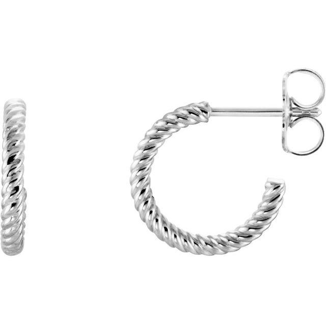 14K White 12 mm Rope Hoop Earrings