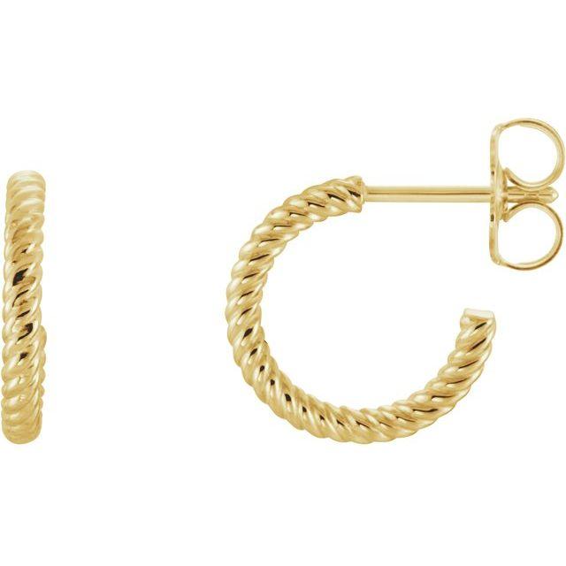 14K Yellow 12 mm Rope Hoop Earrings