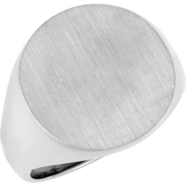 14K White 18 mm Round Signet Ring