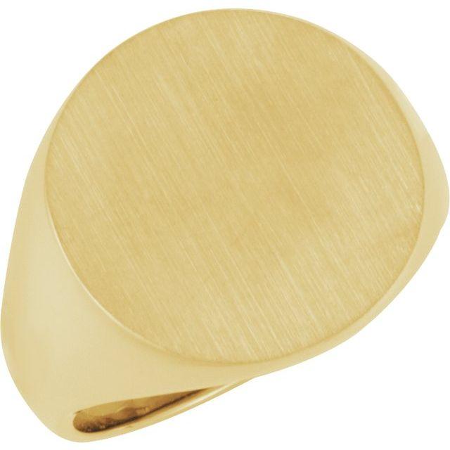 14K Yellow 18 mm Round Signet Ring