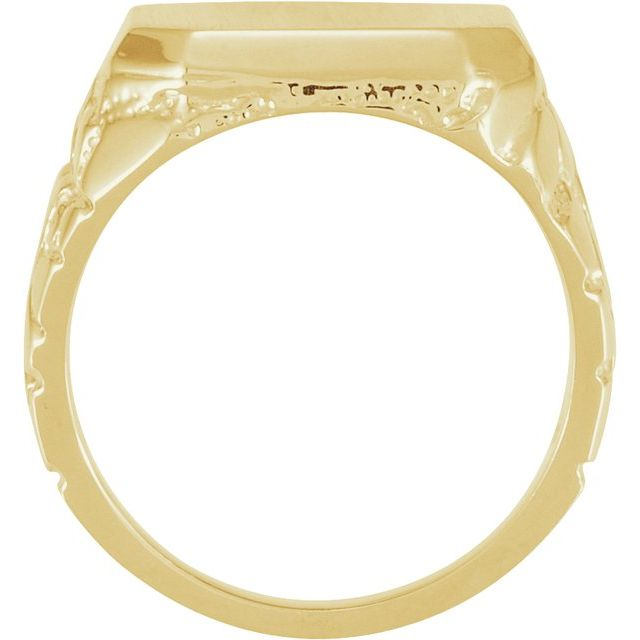 14K Yellow 18x16 mm Octagon Nugget Signet Ring