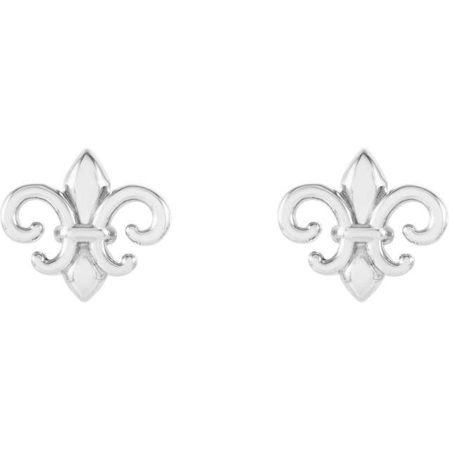 14K White 8.25x7.4 mm Fleur-de-Lis Earrings