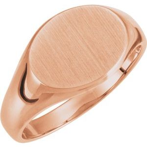 14K Rose 12x9 mm Oval Signet Ring