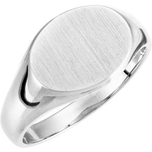 Sterling Silver 12x9 mm Oval Signet Ring