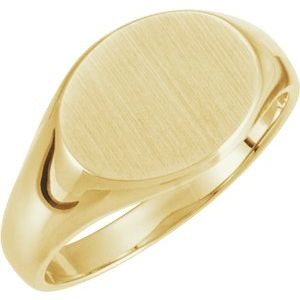 14K Yellow 12x9 mm Oval Signet Ring