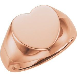 14K Rose 12x12 mm Heart Signet Ring