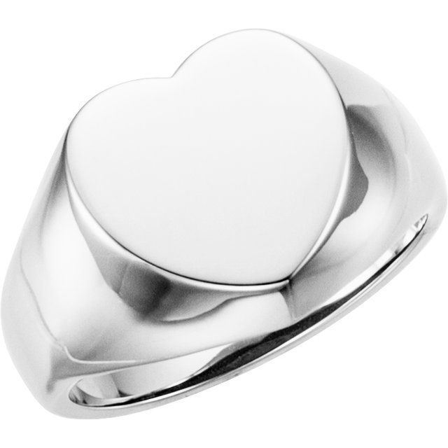 Sterling Silver 12x12 mm Heart Signet Ring