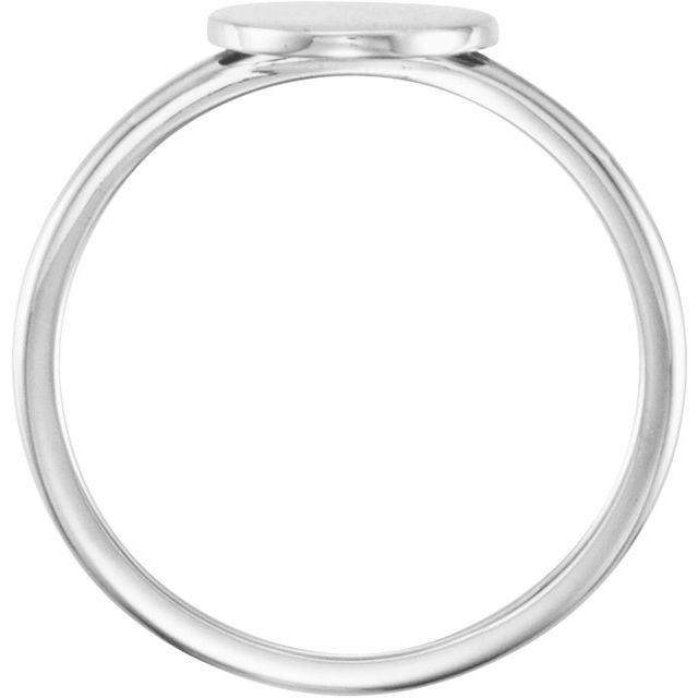 14K White Round Engravable Ring