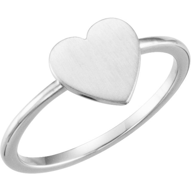 Continuum Sterling Silver Heart Engravable Ring