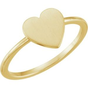 14K Yellow Heart Engravable Ring