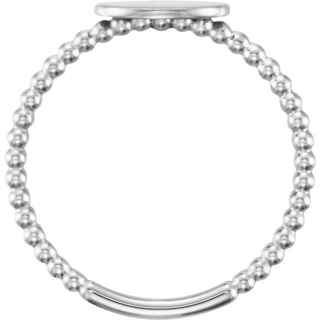 14K White Oval Engravable Beaded Ring