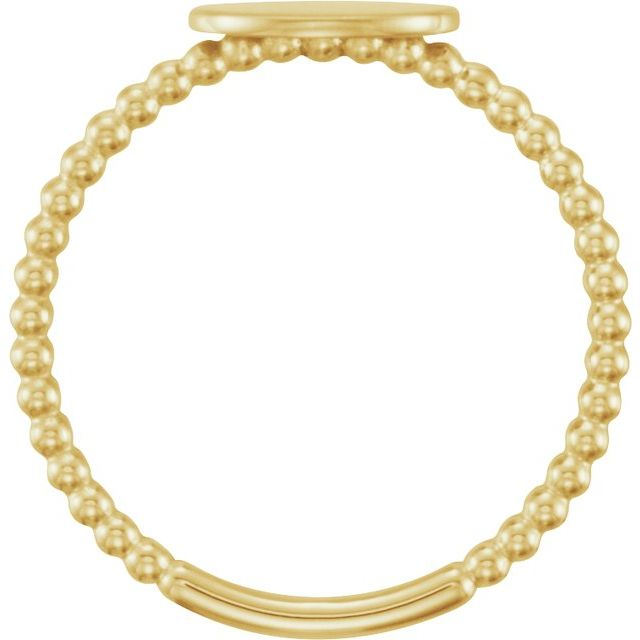 14K Yellow Oval Engravable Beaded Ring