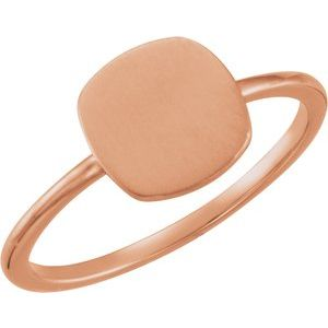 14K Rose Cushion Engravable Ring