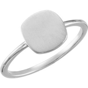 Continuum Sterling Silver Cushion Engravable Ring