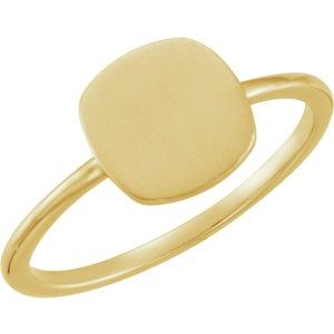14K Yellow Cushion Engravable Ring